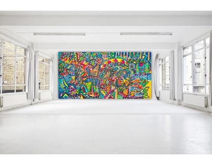 אמנות מקורית לבית, תמונה ענקית לעיצוב בית, תמונה לעיצוב לובי, גודל 200/100 ציור גדול של האמנית ענבר רייך, אמנות ישראלית
