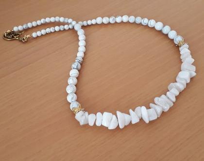 שרשרת אבני חן לבנות - שרשרת היוליט - שרשרת אלגנטית בצבעי לבן / זהב