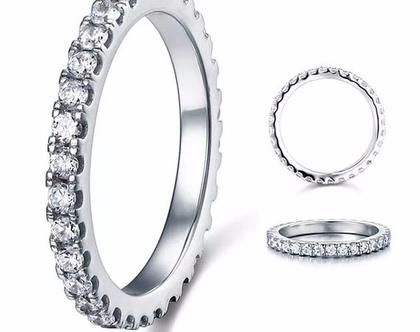 טבעת פס מכסף אמיתי משובץ