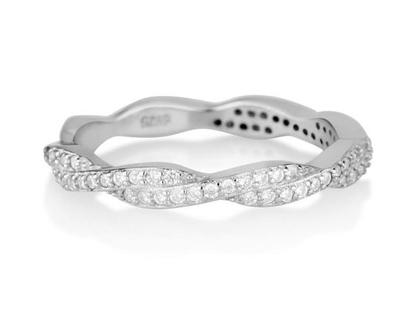 טבעת צמה מכסף אמיתי משובץ