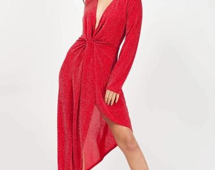 שמלת ערב צבע אדום סגנון זרוק ( תוצרת אנגליה )