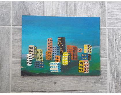 תמונה צבעונית   נוף עירוני   תמונה לחדר ילדים  