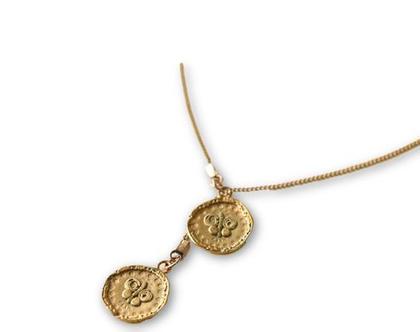 שרשרת מאזניים עשוייה ציפויי זהב מט , תליוני גולדפילד, מטבעות גולדפילד עם הטבעה
