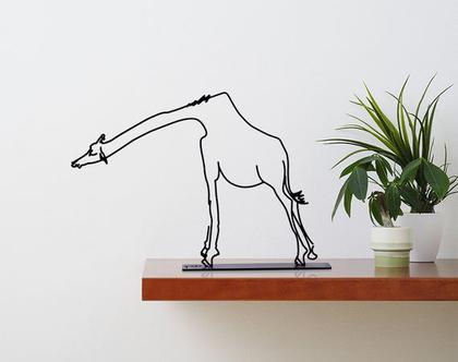 פסל ג'ירף, פסלון דקורטיבי למדף פסל מתכת, אומנות חיות