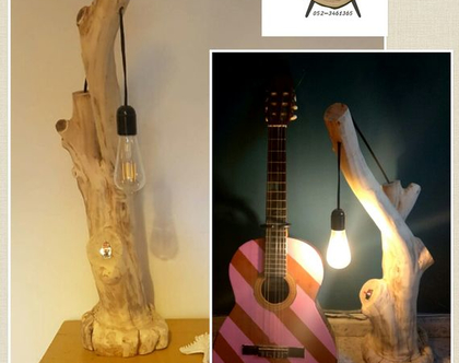 מנורה מעוצבת מעץ טבעי