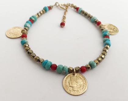 צמיד מטבעות זהב בשילוב אבני חן צמיד טורקיז זהב קורל צמיד מעוצב לאשה