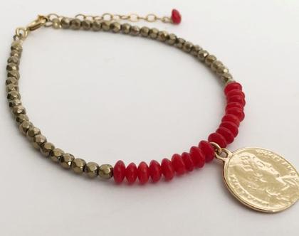 צמיד קורל וזהב צמיד מטבע עתיק בשילוב אבני חן צמיד אדום זהב צמיד בוהו לאשה