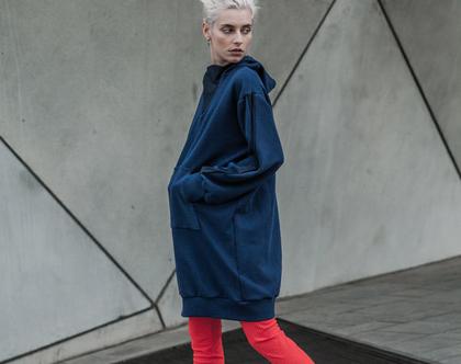 חדש! שמלת סווטשירט כחולה עם פנלים כחולים, קפוצ'ון כחול חורפי חם ונעים