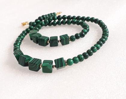 שרשרת מלכית - שרשרת אבני חן וגולדפילד - שרשרת מעוצבת - שרשרת ירוקה - malachite necklece