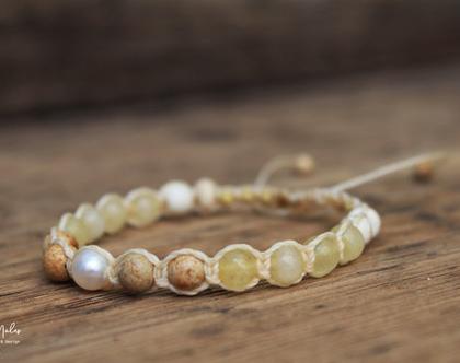 צמיד צהוב מאבני חן טבעיות / צמיד פנינה / צמיד שמבלה / צמיד מקרמה / צמיד לאישה