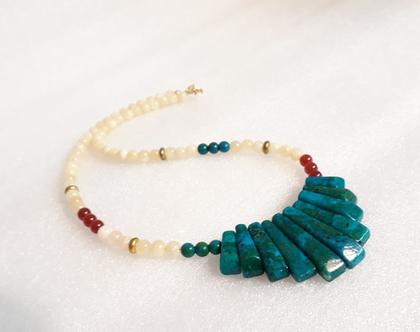 שרשרת קריסוקולה - שרשרת אבני חן יפיפיה - שרשרת בסגנון אתני - שרשרת צבעונית - שרשרת בעיצוב מיוחד - שרשרת מקורית - קריסוקולה - קארנליאן