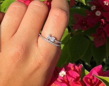 טבעת דובי כסף אמיתי משובץ