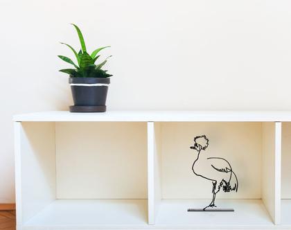 פסל עגור מכותר, פסלון דקורטיבי למדף, פסל מתכת, מתנה לאוהבי חיות, אומנות ישראלית מקורית
