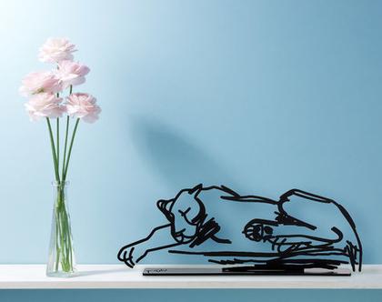 פסל לביאה, פסלון דקורטיבי למדף, פסל מתכת, אומנות ישראלי מקורית, מתנה לאוהבי חיות