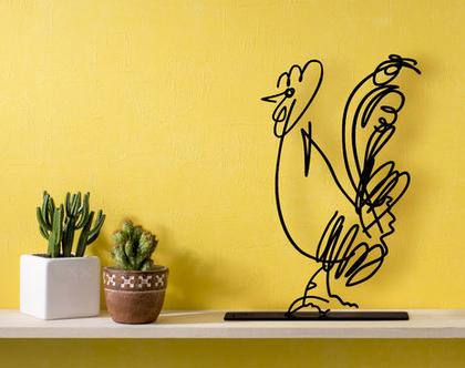פסל תרנגול , פסלון דקורטיבי למדף, מתנה לאוהבי חיות, פסל מתכת לסלון, אומנות ישראלי מקורית