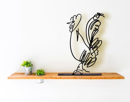 אומנות ישראלית מקורית, פסל מתכת לבית, פסל תרנגול , פסלון דקורטיבי למדף