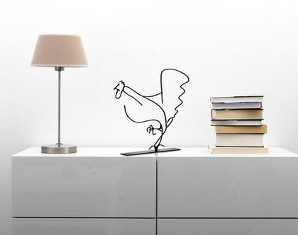 פסל מתכת לבית, ואמנות ישראלית מקורית, פסל תרנגול , פסלון דקורטיבי למדף
