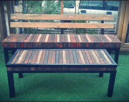 ספסל ושולחן לגינה מעץ ממוחזר על רגלי ברזל
