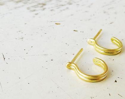 עגילי חישוק זהב מט 14k