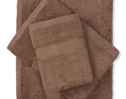 מגבת חלקה - חום כהה