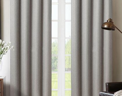 זוג וילונות הצללה אפור כהה | וילונות לחדר שינה | וילונות ארוכים | וילון לחלון סטודיו | וילונות למשרד