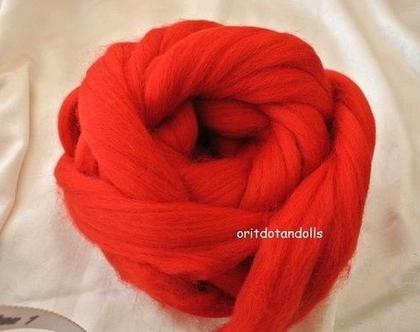 צמר מרינו בצבע אדום, צמר כבשים טבעי מיובא מאיטליה, עיבוד סרט ארוך, 28 מיקרון-בחר משקל