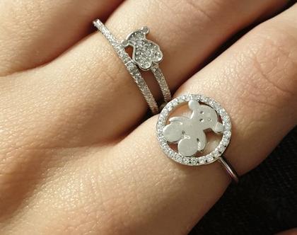 טבעת דובי מוקף כסף אמיתי משובץ