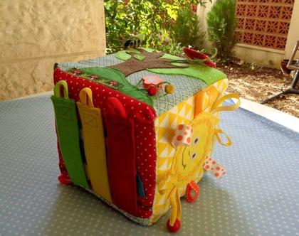 משלוח מיידי!!! / קובייה התפתחותית לתינוק / קוביית משחק / קובייה רכה / קובייה לתינוק / מתנה לתינוק / מתנה לתינוקת