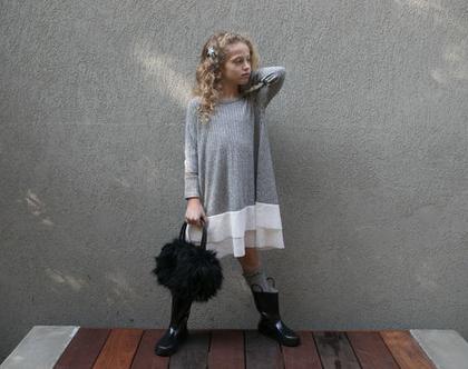 שמלת סריג לילדה , שמלת רוק אפור ורשת