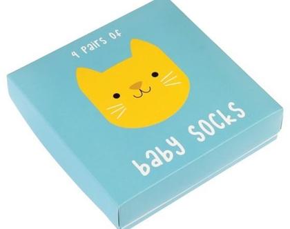 סט 4 גרבי תינוקות דוגמת חתול