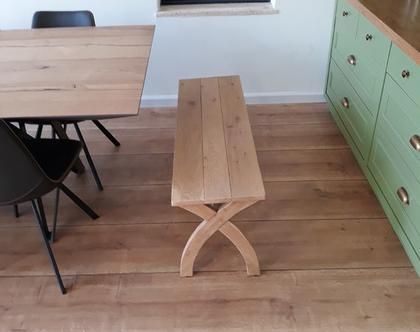 ספסל/שולחן איקס עגול מעץ אלון   ספסל לפינת אוכל   ספסל לאמבטיה   ספסל לחדר שינה   ספסל פסנתר