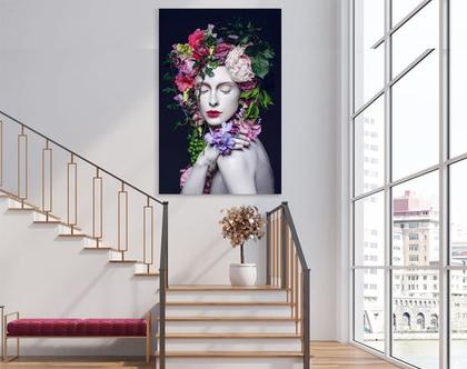 תמונת קנבס מעוצבת - woman in bloom| תמונה מעוצבת של של אשה