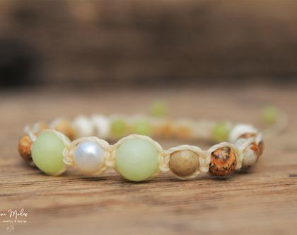 צמיד מאבני חן טבעיות / צמיד פנינה / צמיד שמבלה / צמיד מקרמה / צמיד לאישה / צמיד ירוק בהיר