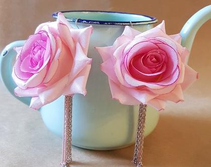 עגילים תלויים, ורד ורוד ענקי