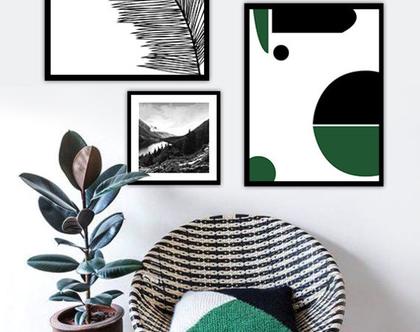 סט 4 תמונות - פשטות ירוקה