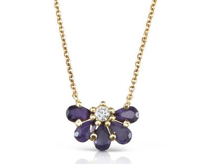 שרשרת זהב משובצת אבני חן סגולת ויהלום, שרשרת זהב מיוחדת , שרשרת איילויט, שרשרת פרח, שרשרת זהב מעוצבת