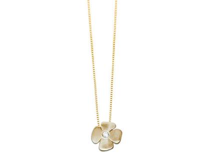 שרשרת תליון זהב , שרשראות זהב, שרשת פרח, שרשרת זהב, תליון יהלום, שרשרת יהלום