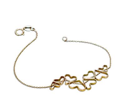 צמיד זהב , צמיד לבבות, צמיד זהב לאישה