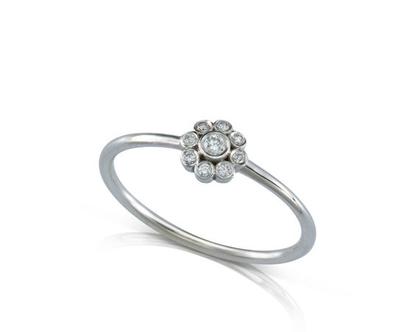 טבעת זהב ויהלומים, טבעת זהב עדינה, טבעת זהב מיוחדת, טבעת אירוסין מיוחדת, טבעת זהב בצורת פרח