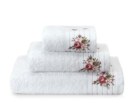מגבת רקמת פרחים – לבן