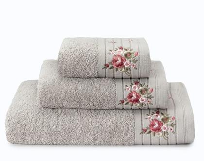 מגבת רקמת פרחים – אפור