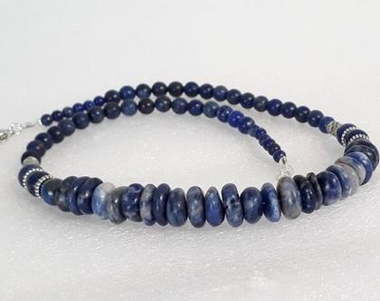 שרשרת אבני חן כחולות - שרשרת לפיס ואגט - שרשרת מעוצבת