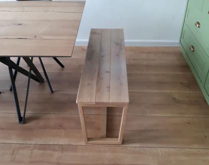 ספסל/שולחן טרפזינה אלון מעץ אלון | ספסל לפינת אוכל | ספסל לאמבטיה | ספסל לחדר שינה | ספסל פסנתר