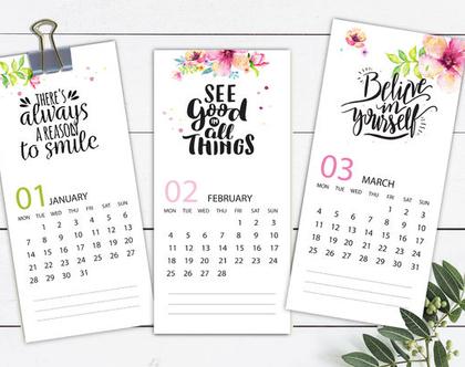 לוח שנה בעיצוב אישי 2020, עם הקדשה וציון תאריכים מיוחדים, דגם משפטי השראה ופרחים