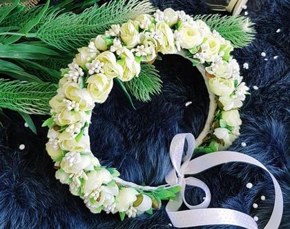 זר פרחים לראש | קשת לשיער | פרחים לבנים| פרחי משי | פרחים מלאכותיים | זר פרחים | קשת פרחים לראשקשת לשיער| זר לראש