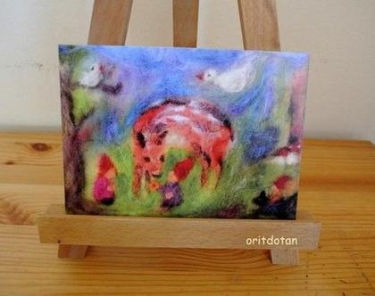 גמדים ביער, אומנות לילדים ותינוקות, כרטיס ברכה ותמונה לחדר ילדים, הדפס נייר של ציור בצמר כבשים