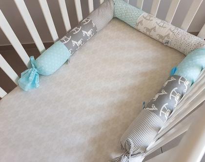 חדש! נחשוש סוס נדנדה | כרית נחש | תכלת, אפור, לבן | מגן ראש למיטת תינוק | מתנה ליולדת | עבודת יד