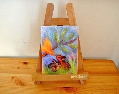 ארנבונים וציפור-תמונה לילדים, כרטיס ברכה לילדים, ציור מקורי צויר בצמר כבשים