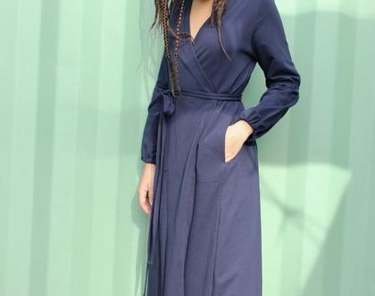 שמלת מעטפה | כחול נייבי