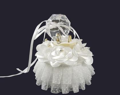קופסת תכשיטים לבנה מעוצבת לטבעות | הצעת נישואין | טבעות לחתונה | קופסה לטבעות נישואין